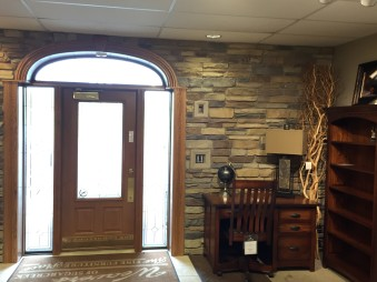 Interior Stone Wall by Gran'ide Stone Works at Weaver's Furniture of Sugarcreek, Ohio.